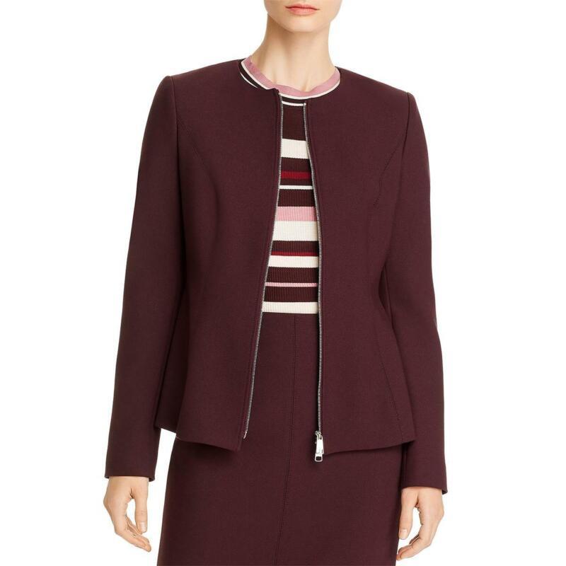 BOSS Hugo Boss Womens Peplum Office Wear Collarless Blazer Jacket BHFO 1376
