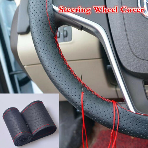 Car Black Leather Steering Wheel Cover DIY With Red Thread & Needle Hand Sewing