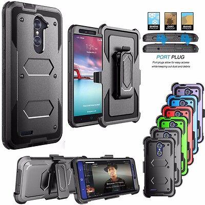 For ZTE Zmax Pro Hybrid Armor Case + Belt Clip Holster Phone Cover + (Best Zmax Pro Case)