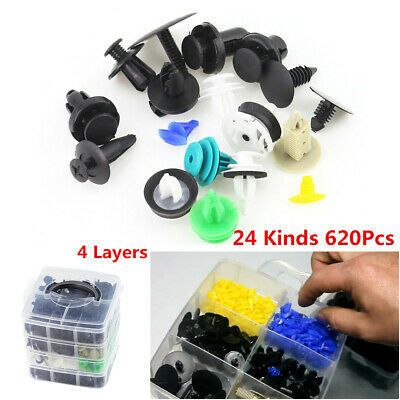620Pcs 24 Kinds 4 Layers Car Bumper Fender Fastener Repair Parts Retainer Clip