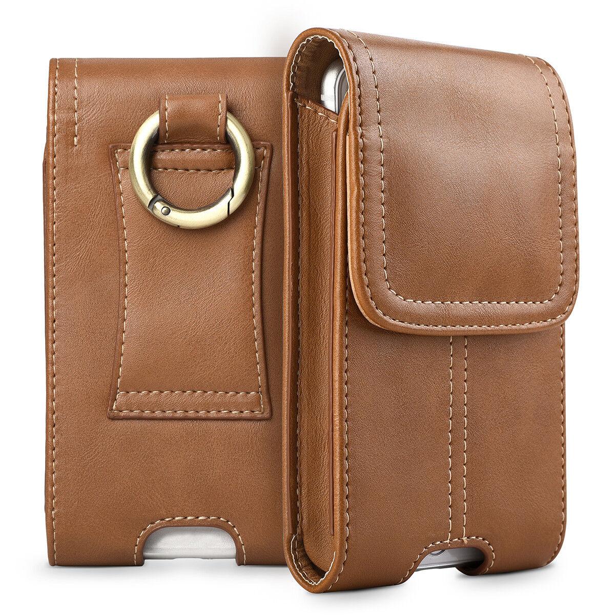 innovative design 49f86 38da5 Details about Business Men Vertical Leather Cell Phone Pouch Case Holster  Belt Loop Holder US