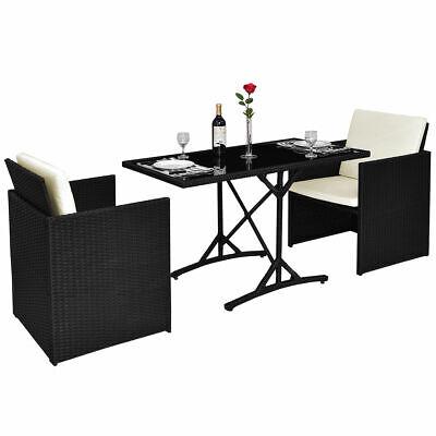 Garden Furniture - 3PCS Patio Rattan Furniture Set Cushioned Garden Table& Chairs W/Cushions New