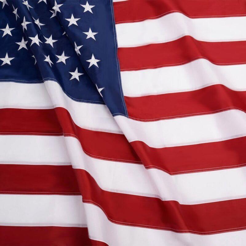 G128 American Flag 3X5 Ft Embroidered Stars Sewn Stripes Bra