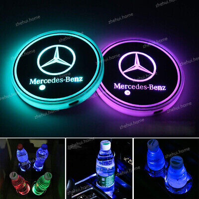 2PCS LED Colorful Atmosphere Light Car Cup Holder Pad Mat For Mercedes-Benz (Mercedes Benz Cup)