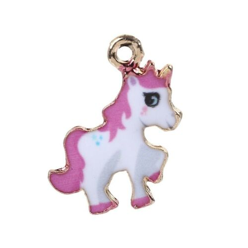 +Unicorn+Charms+Pendant+Pink+%26+White+Gold+Plated+Pack+of+10
