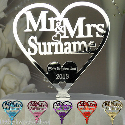 Personalised Wedding  Mr & Mrs Heart Cake Topper Keepsake in Mirror Acrylic