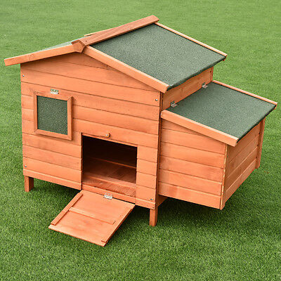 """45"""" Wooden Rabbit Hutch Small Animal House Pet Cage Chicken Coop Waterproof"""