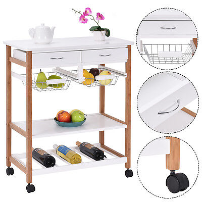 Rolling Wood Kitchen Trolley Cart Island Storage Basket Wine Rack w/ Drawers New