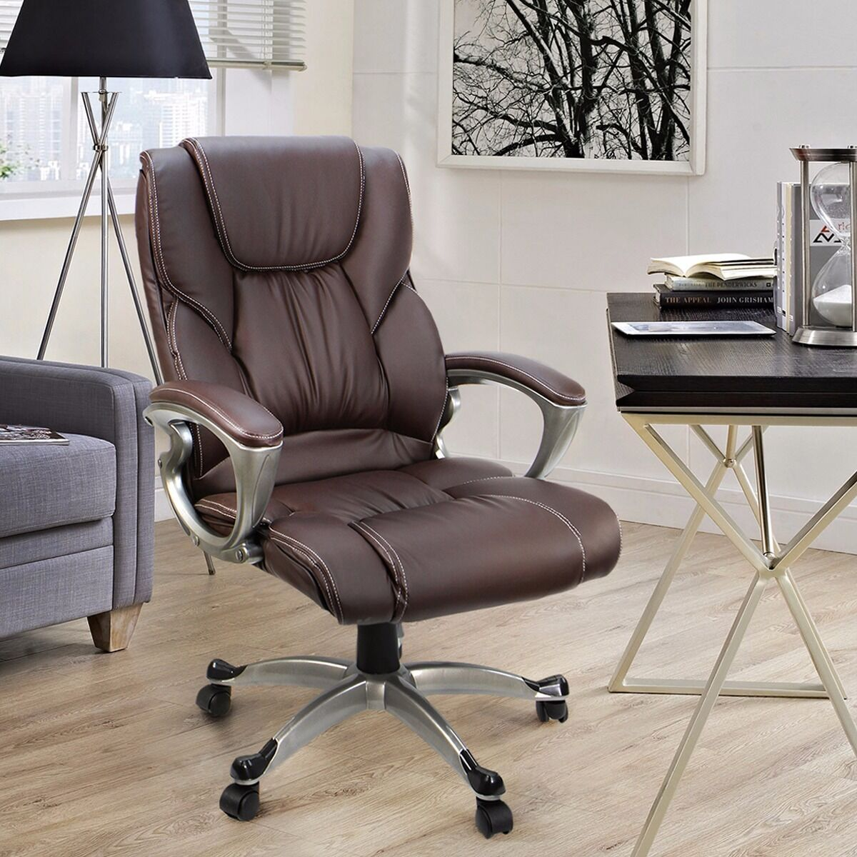 Nice Brown PU Leather High Back Office Chair Executive Task Ergonomic Computer  Desk