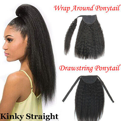 Kinky Straight 100% Real Human Hair Clip in Ponytail Extensions Wrap -