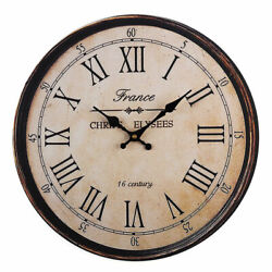 40 Cm Vintage Large Rustic Wood Wall Clock Kitchen Numbers Art Home Decoration