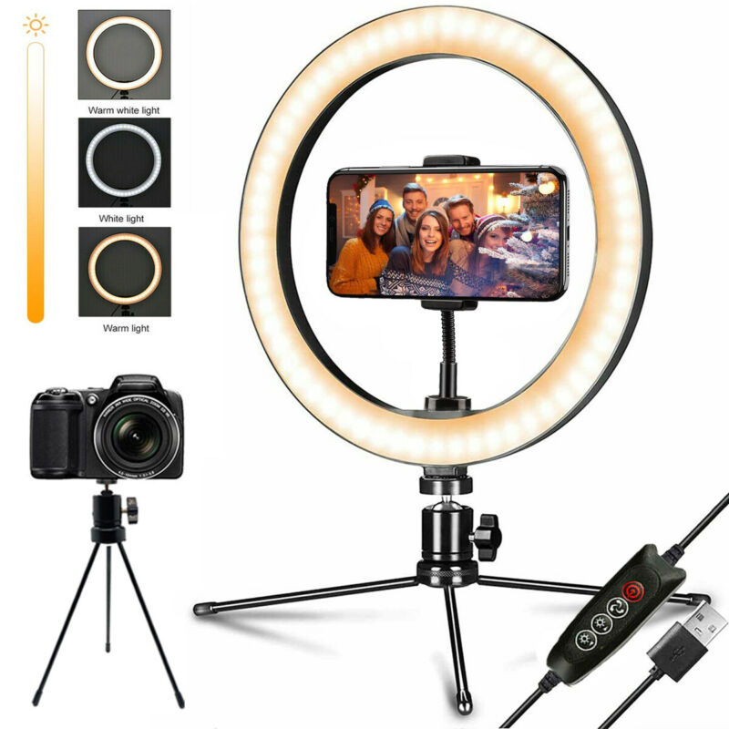 """10"""" LED Ring Light with Tripod Stand & Phone Holder Dimmable Desk Makeup Kit"""