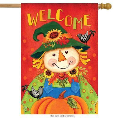 """Harvest Scarecrow Fall House Flag Autumn Primitive 28"""" x 40"""" Briarwood Lane"""