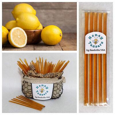 Honeystix Straws - 5  Pack LEMON HONEY TEASERS Natural Honey Snack Sticks Honeystix Straws