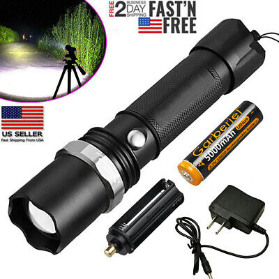 Tactical LED Flashlight 90000LM Rechargeable Hiking T6 Torch+18650 Batte+Charger