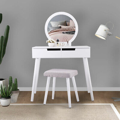 Dressing Table Makeup Vanity Jewelry Organizer Desk with Round Mirror 2 Sliding](Mirror Table)