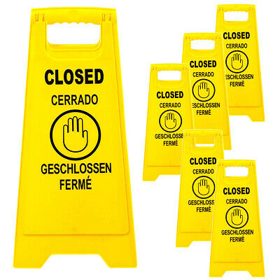 6 Pack Closed Caution Floor Sign Multilingual 2 Sided Fold Up Bright Yellow ()