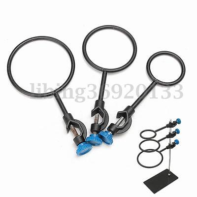 Iron Metal Support Rings Lab Stand Base Set With Jackscrew Dia 60mm 80mm 100mm