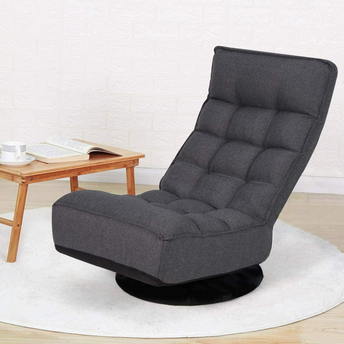 360-Degree Swivel Folding Floor Gaming Chair Adjustable Lazy Sleeper Recliner Chairs