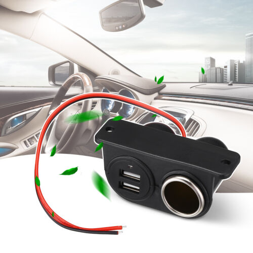 Auxiliary Dual USB/Power Outlet 12V Car DC Cigarette Lighter Socket Plug Adapter