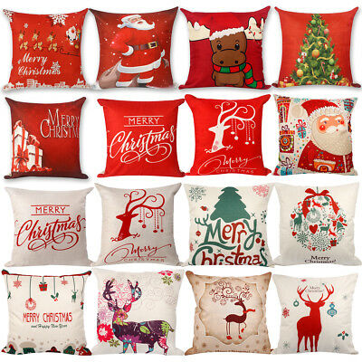 Merry Christmas 2018 Pillow Case Linen Cotton Cushion Cover Home Xmas Decoration