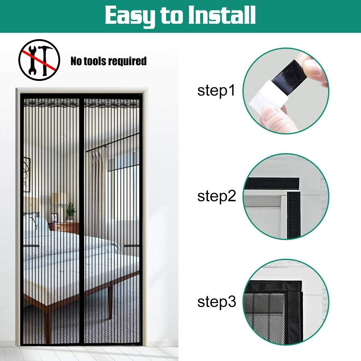 Magnetic Screen Door Heavy Duty Hands-Free Mosquito Mesh Anti Bugs Fly Curtain 10
