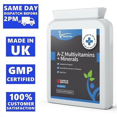 Multi Vitamins and Minerals A-Z VEGAN Tablets 100% RDA HIGH QUALITY SUPPLEMENT