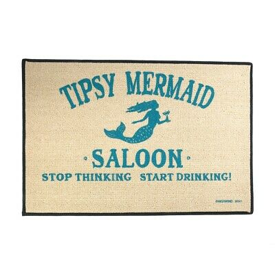Funny Tipsy Mermaid Saloon Welcome Mat Indoor Outdoor Door Floor Rug Tan Doormat Funny Indoor Outdoor Door Mat