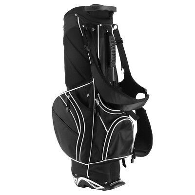 Golf Stand Cart Bag w 6 Way Divider Carry Pockets Black