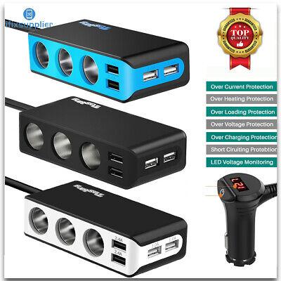 4 USB Steckdose Adapter 3 Kfz Auto Zigarettenanzünder Verteiler Ladegerät
