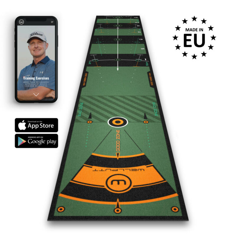 Wellputt Pro Putting Mat 3 Courses 10 Foot (3 Meter) Black Training Aid