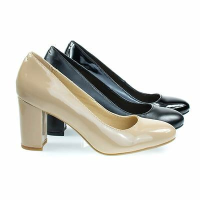 Patty Comfortable Foam Padded Dress Pump W Round Toe Chunky Block Heel