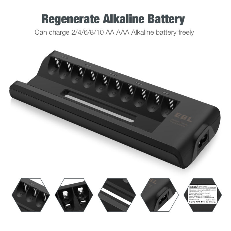 10-Bay Battery Charger for Alkaline AAA AA Disposable Batteries