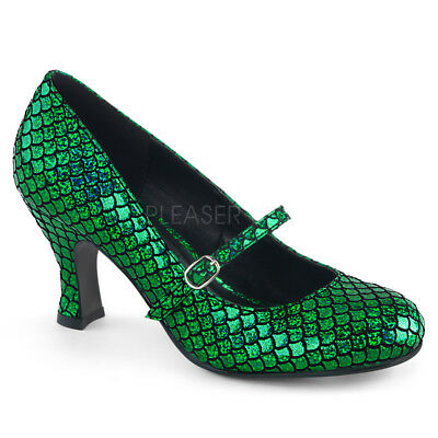 MERMAID-70 3 Heel Mary Jane Pumps Green Mermaid Scale Halloween Costume Shoes