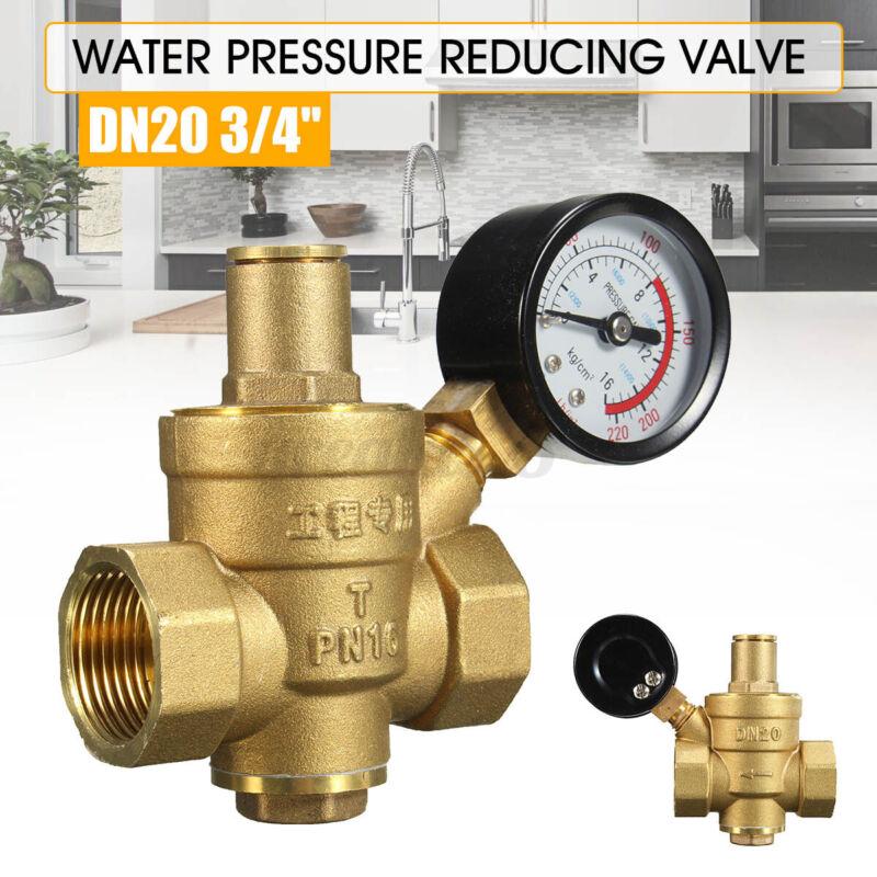 "DN20 3/4"" Brass Water Pressure Regulator Adjustable Brass Reducer +Gauge Meter"