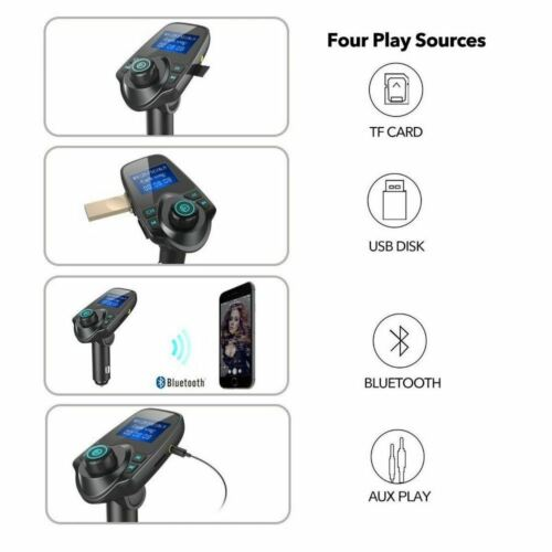 Bluetooth Wireless Car AUX Stereo Audio Receiver FM Radio Adapter USB Charger SD Consumer Electronics