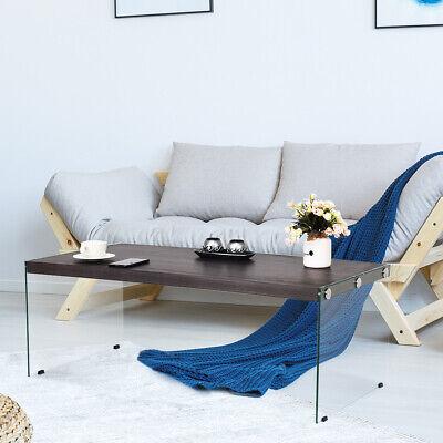 Mesa de Centro de Vidrio Mesita de Café 110x55x40cm Mueble para Salón...