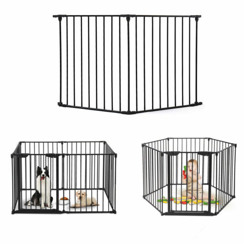 2 panels Indoor/outdoor Fireplace Baby Safety Fence Hearth Gate Metal Fire Gate