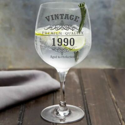 Vintage 1990 30th Birthday Copa Gin Glass