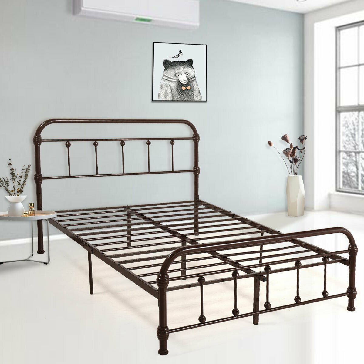 Miraculous Metal Bed Full Size Platform Bed Frame Bedroom Furniture W Headboard Footboard Beutiful Home Inspiration Truamahrainfo