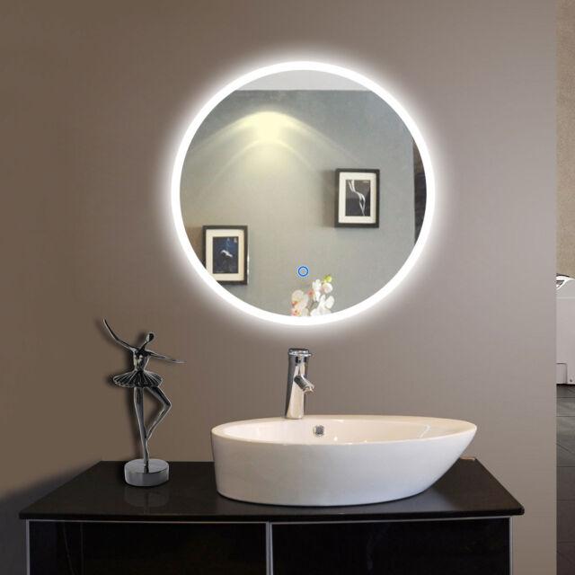 LED Bathroom Mirror Illuminated Lighted Vanity Wall 24 Round Makeup