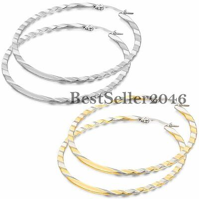 (Women Stainless Steel Large 50mm Inside Out Wave Round Hoop Dangle Earrings 2PCS)