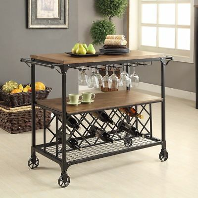 Rustic Industrial Mobile Wood Metal Wine Rack Serving Bar Cart - MEDIUM OAK - Glass Oak Kitchen Cart