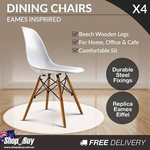 4 x Replica Eames Eiffel DSW White Retro Dining Chairs Cafe Hom Sydney City Inner Sydney Preview