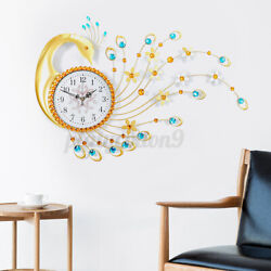 3D Large Wall Clock 35'' Modern Luxury Peacock Big Watch Home Exquisite Decor US