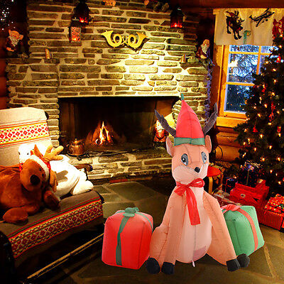 Christmas Lawn Inflatables   4ft Airblown Inflatable Christmas Xmas  Reindeer Gift Box Decor Lawn Yard Outdoor