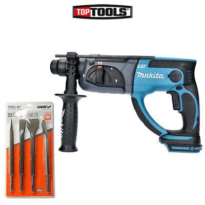 Makita Dhr202 18v Lxt Sds Plus Hammer Drill With 4 Piece Sds Chisel Set