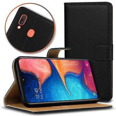 Leder Smartphone (Samsung Galaxy A20e Handy Lederhülle Smartphone Cover Schwarz Case Schutzhülle)