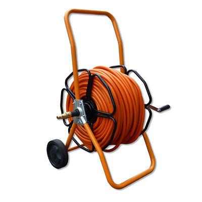 Metal Wheeled Hose Reel - + 100 meters of 8mm Microflex Orange Hose