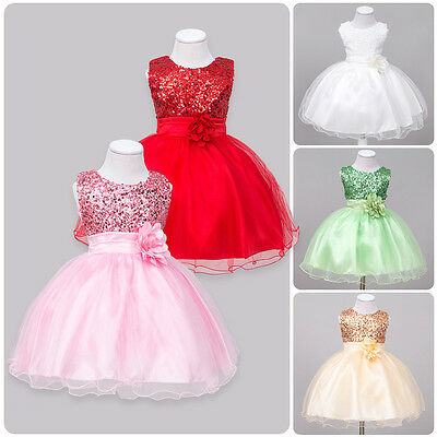 Flower Girl Kid Toddler Baby Princess Party Sequins Wedding Tulle Tutu Dresses